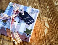Christmas Gift Box Label Tag PSD Mockup
