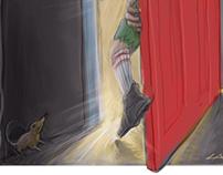 Boy behind Red door