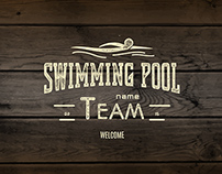 Swimming vector set badges and logos