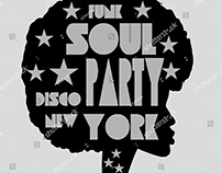 Funk soul disco party vector art