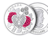 """2018 $3 Royal Canadian Mint Coin """"Celebration of Love"""""""