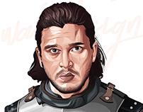 Jon Snow vector art portrait -game of thrones
