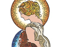 Mucha Inspired Tattoo Design