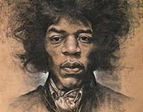 Jimi Hendrix Pencil/Charcoal on paper 55x75 cm