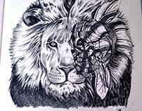 Lion & Rose Sketch Illustration Drawing
