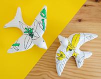 Andorinhas Floríferas (painted ceramics)