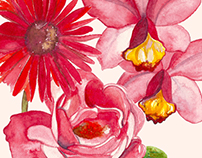 Flores em aquarelas