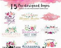 15 Pre-Designed Logos in PSD format