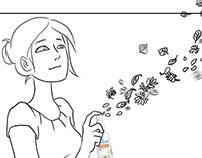 Storyboard famille et spray floral