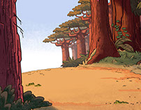 """Australia"", raster backgrounds for cartoon"