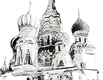 An illustration a day, St Basils Cathedral, Moscow