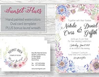 'Sunset Hues': card template in pastel shades