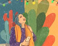 Christmas Girl , Digital Watercolor