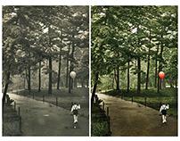 Restoration/colorisation - child in Central Park (1965)
