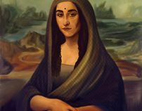 Indian take on Leonardo da Vinci's Mona Lisa
