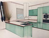 Design sketch of American KITCHEN