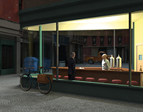 Edward Hoppers «Nighthawks» in 3D