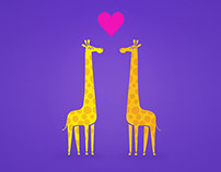 Free Wallpaper Cute cartoon giraffe couple in Love