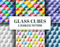 Glass cubes 6 seamless vector patterns