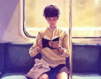 The Reading Boy - illustration