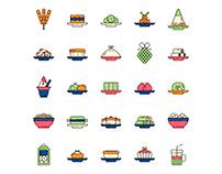 Indonesian Food Icons Set