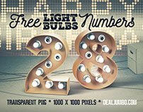 Free White Bulbs 3D Numbers