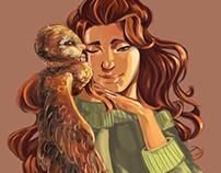 Art, owl and girl