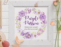 'Purple Passion': watercolor floral wreath