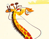 Rollerskating Giraffe Illustration