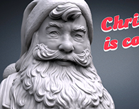 Santa Claus portrait. 3D model and 3D print