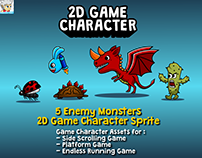 5 Enemy Monsters 2D Game Character Sprite
