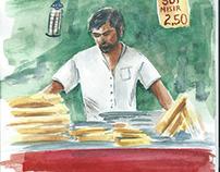 Istanbul street food (watercolor)