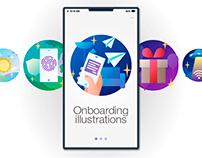 Onboarding illustrations (material gradient fill)