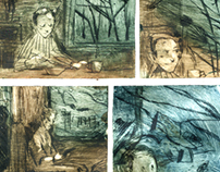 """There and back again"" drypoint comics"