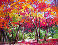 Acers in Autumn, chalk pastel on board