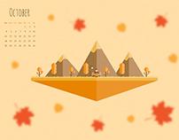 October - Material design wallpaper