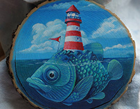 Fish-island with lighthouse