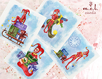 Illustration for postcards: New Year Harlequins