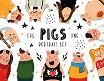 Pigs portrait set