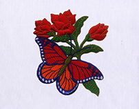 BUTTERFLY AND RED ROSE EMBROIDERY DESIGN