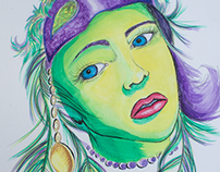 Mardi Gras Girl - Pen and Watercolor