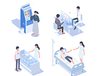 Medical scene illustrations