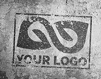 PSD Grunge Spray Mock-Up On The Wall