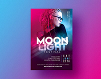 "Night Club Flyer Template "" Moon Light Festival"""