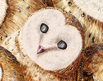 Dreamcatcher Barn Owls - digital painting