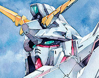 Gundam Unicorn watercolor