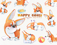 Happy corgi watercolor clipart pack