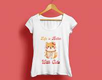 Woman Cat T-shirt Design