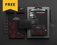Free Dark Stationery Branding Mockup Set