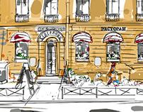 severyanin restaurant artwork (summer and winter)